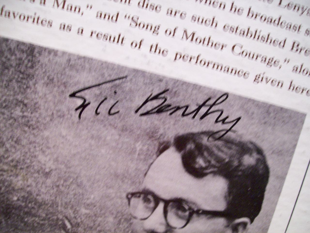 Bentley, Eric LP Signed Autograph Bentley On Brecht