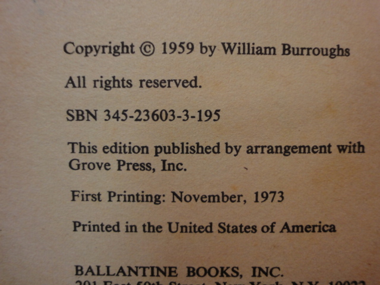 """Burroughs, William """"Naked Lunch"""" 1973 Soft Cover Book Signed Autograph"""