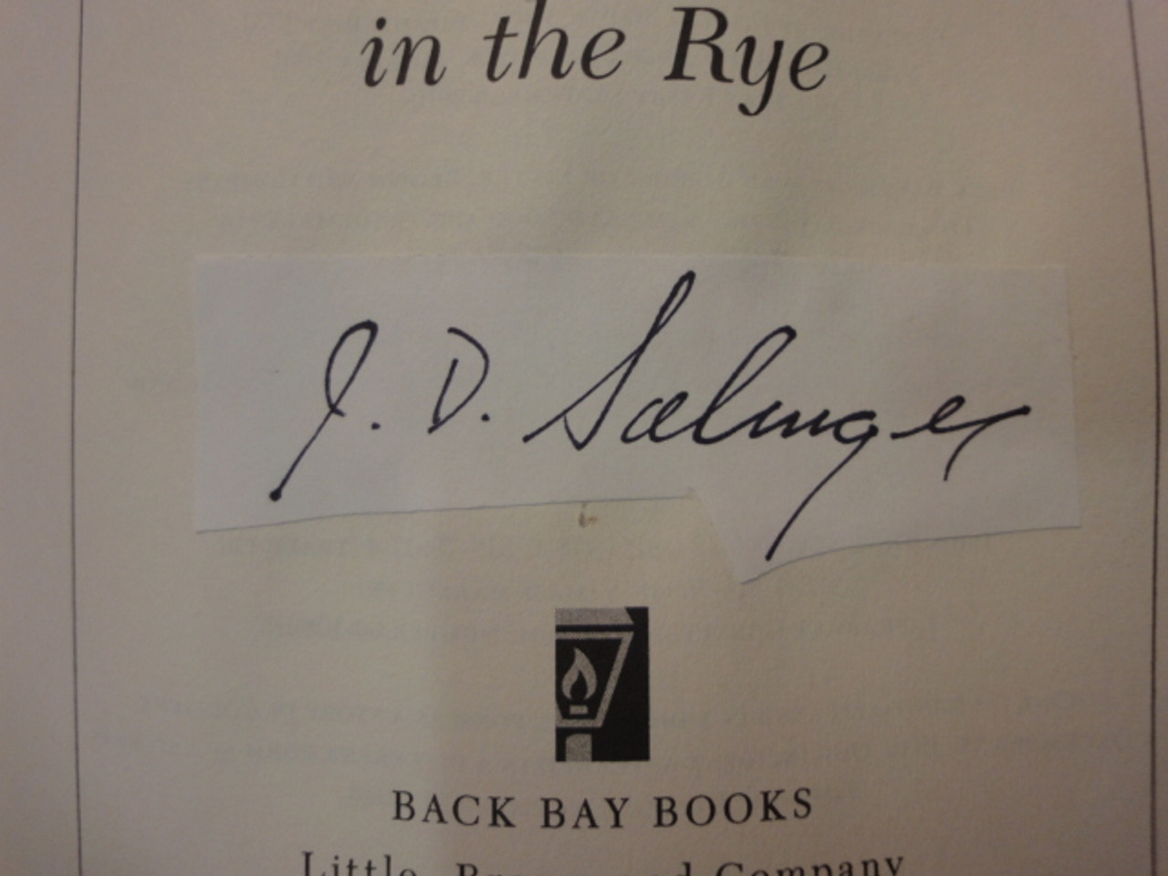 """Salinger, J.D. """"The Catcher In The Rye"""" 1979 Book Signed Autograph"""