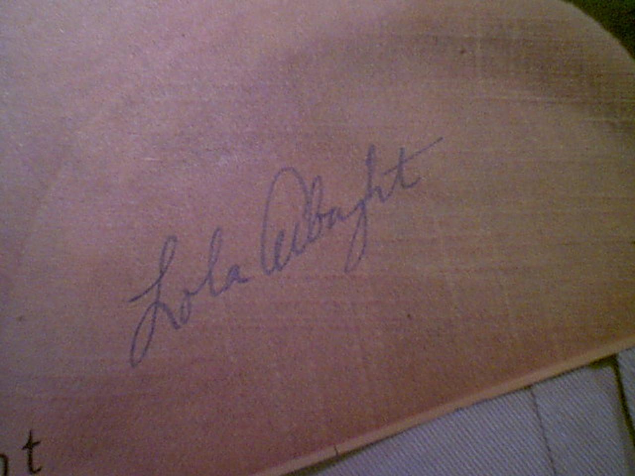 Albright, Lola Vintage Color Photo Signed Autograph 1949