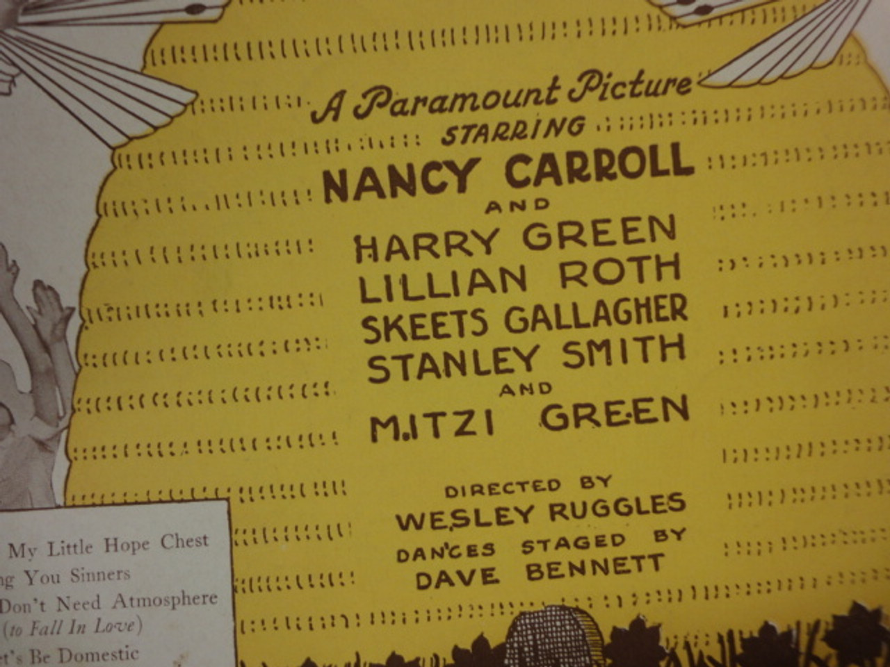"""Carroll, Nancy """"Sing You Sinners"""" 1930 Sheet Music Signed Autograph """"Honey"""" Cover Photo"""