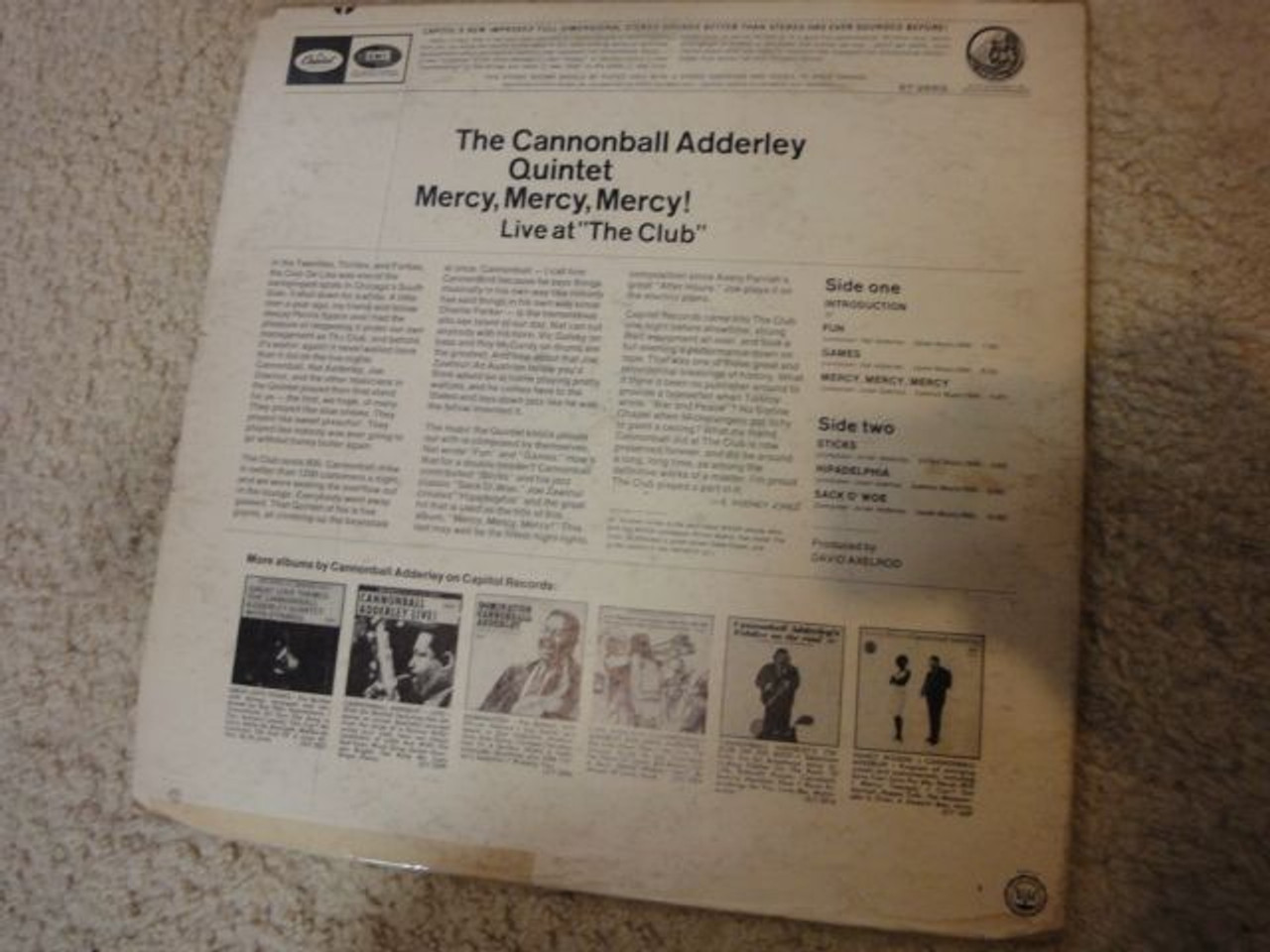 """Adderley, Cannonball """"Mercy Mercy Mercy"""" 1960 LP Signed Autograph """"Live At The Club"""""""
