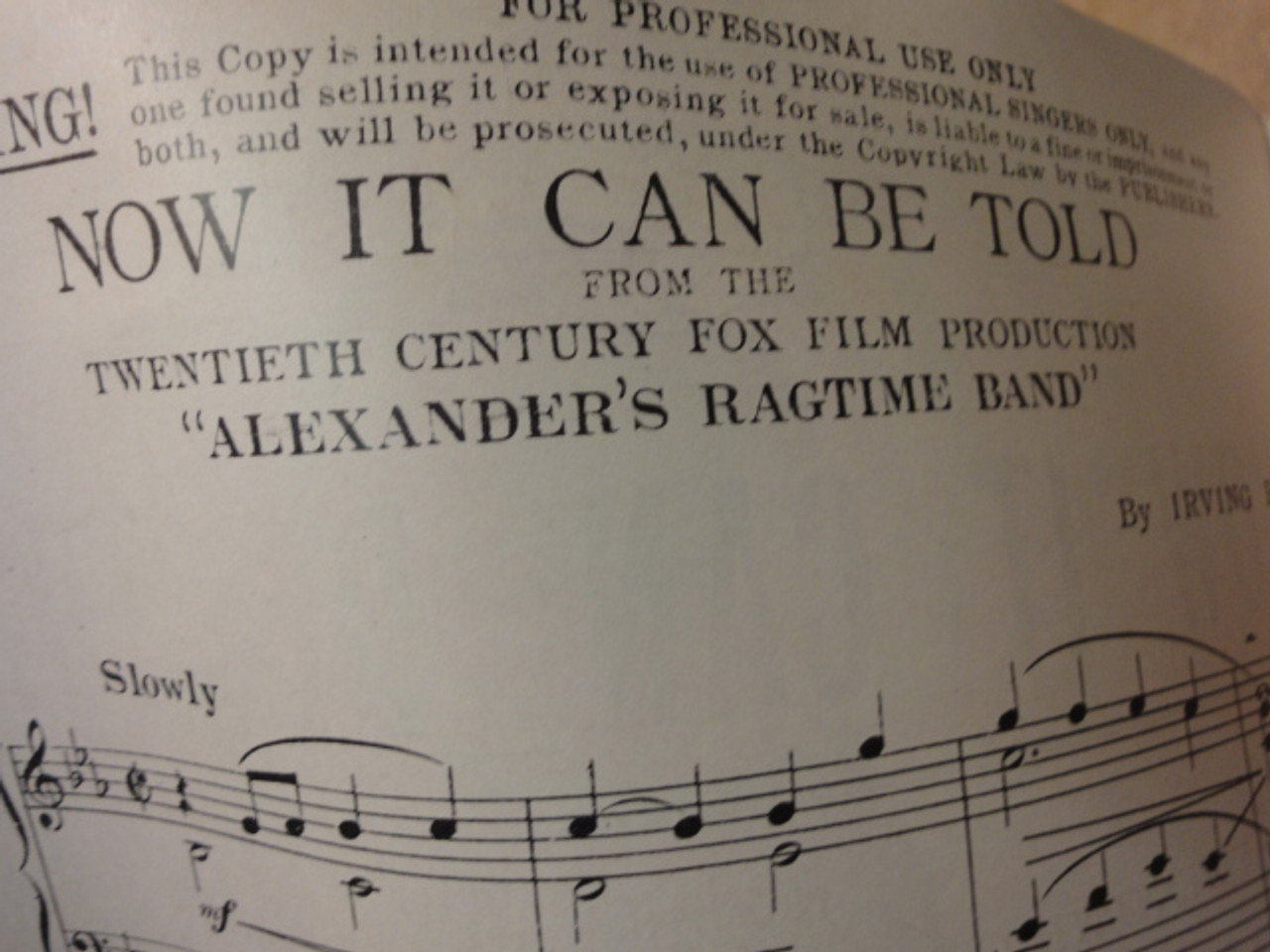 """Berlin, Irving """"Now It Can Be Told"""" 1938 Sheet Music Signed Autograph """"Alexander's Ragtime Band"""" Cover Photo"""