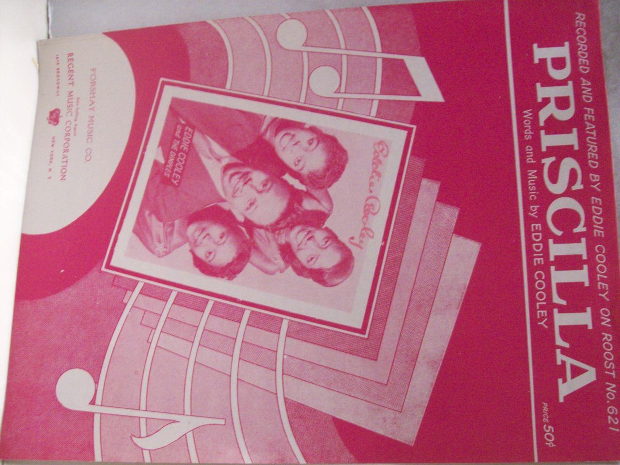 Cooley, Eddie Sheet Music Signed Autograph Priscilla 1956