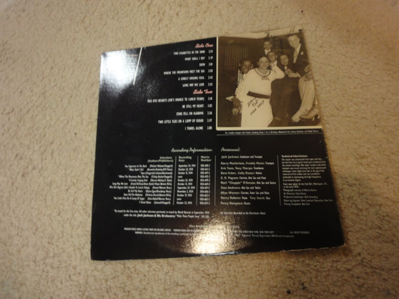 "Hunter, Alberta ""The Legendary-The London Sessions 1934"" Jazz LP Signed Autograph"