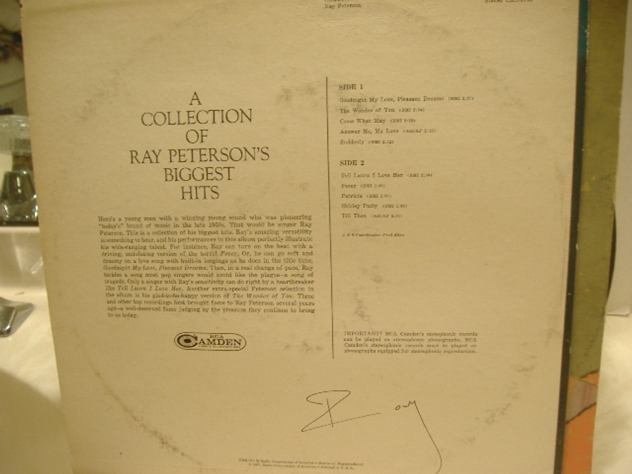 Peterson, Ray LP Signed Autograph Goodnight My Love Pleasant Dreams