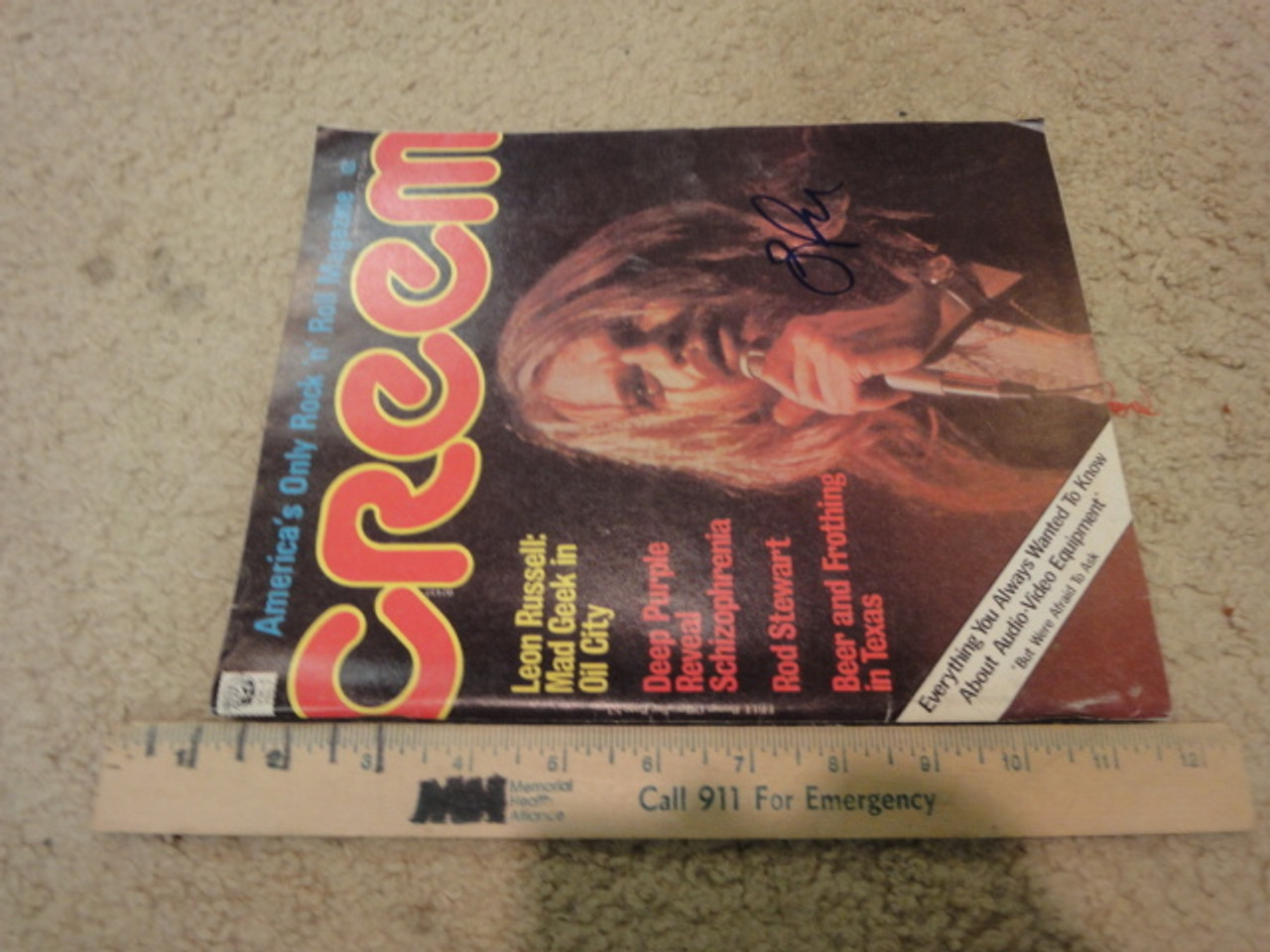 """Russell, Leon """"Creem"""" Magazine 1972 Signed Autograph Color Cover Photo"""