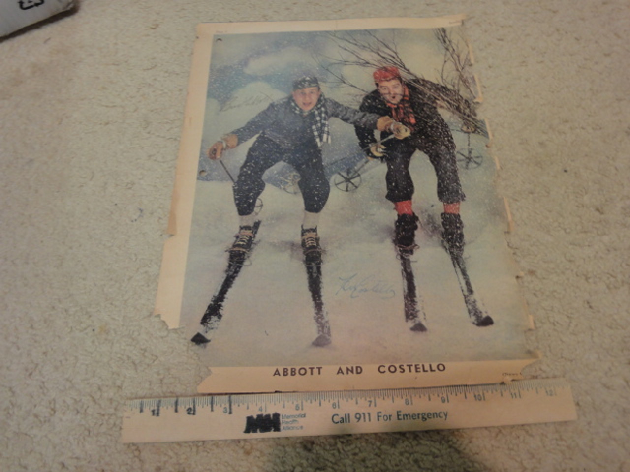 Abbott And Costello Bud Abbott and Lou Costello Color Photo Signed Autograph 1943