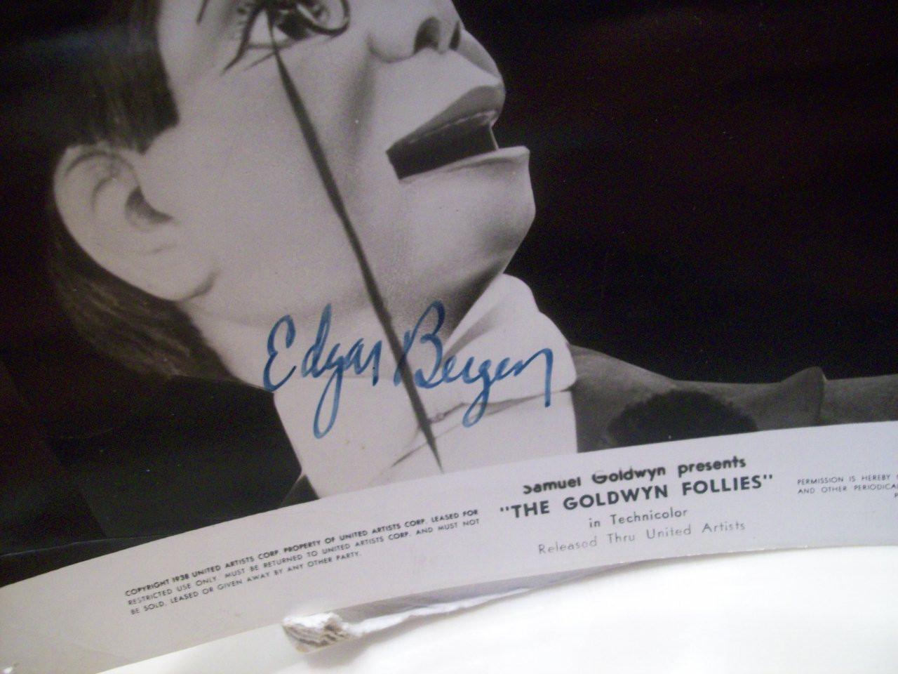 Bergen, Edgar Photo Signed Autograph Charlie Mccarthy The Goldwyn Follies 1938