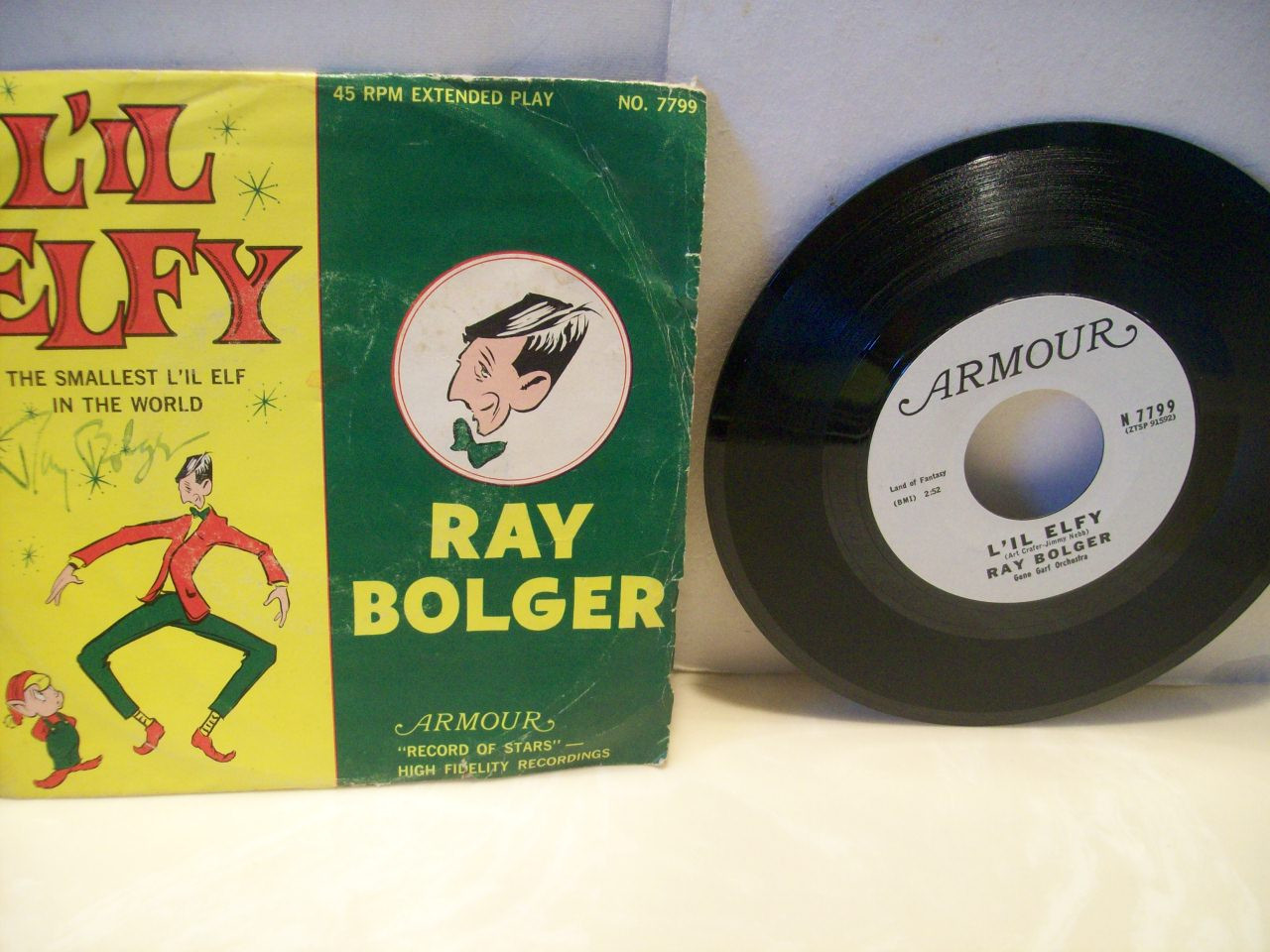 Bolger, Ray 45 Signed Autograph Lil Elfy Pic Sleeve