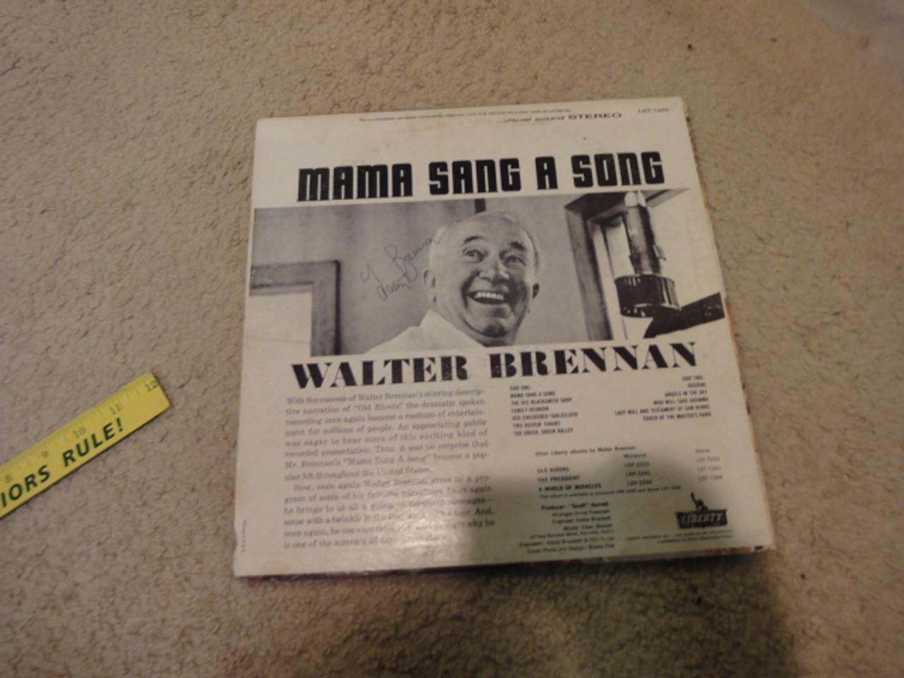 """Brennan, Walter """"Mama Sang A Song"""" 1962 LP Signed Autograph Real McCoys"""