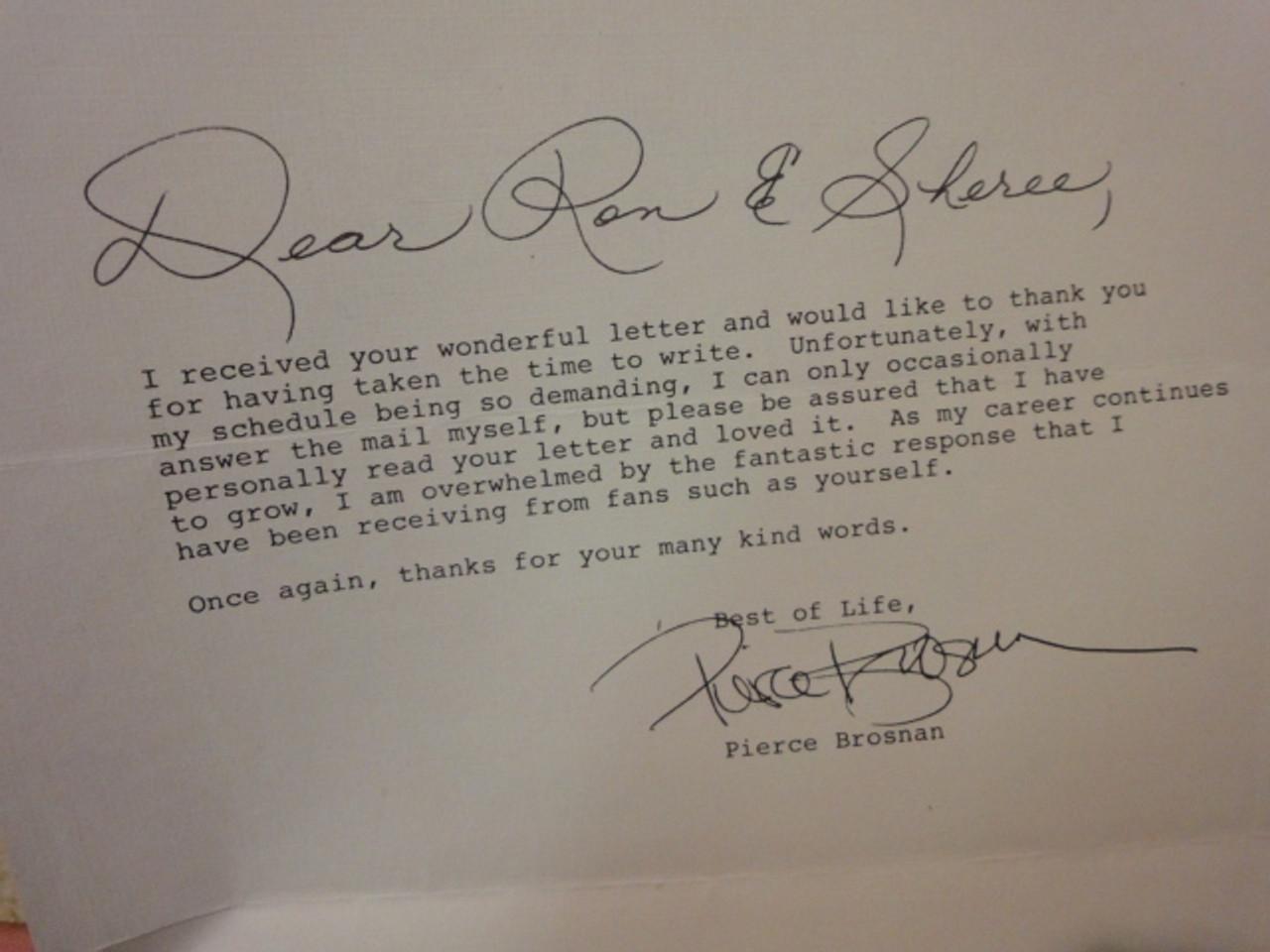 Brosnan, Pierce Original Typed Letter Signed Autograph 1986