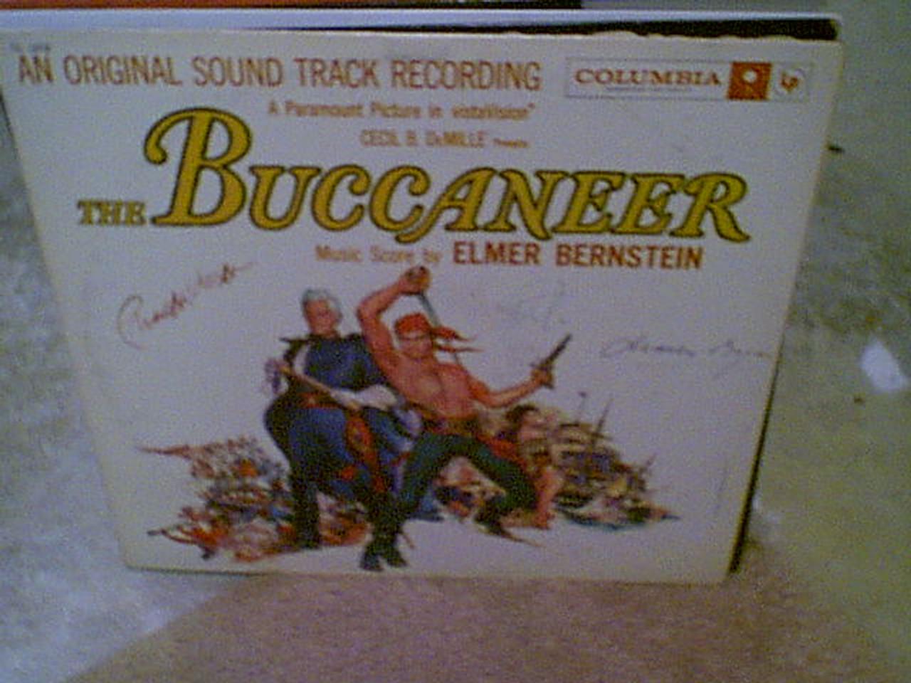 "Brynner, Yul Charles Boyer Charlton Heston ""The Buccaneer"" 1958 LP Signed Autograph"