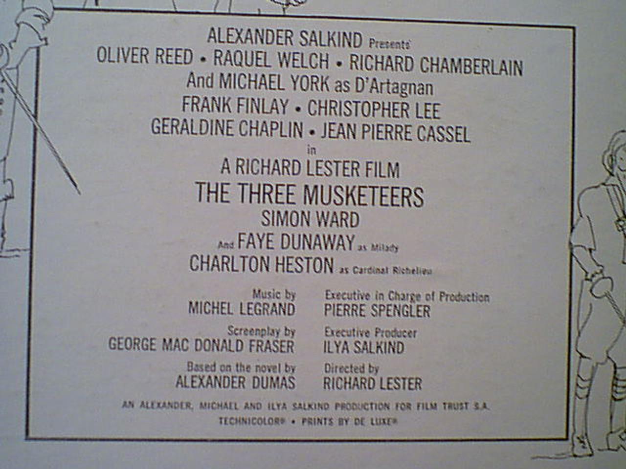 "Chamberlain, Richard Charlton Heston Michael York Raquel Welch ""The Three Musketeers"" 1974 LP Signed Autograph Color Photos"