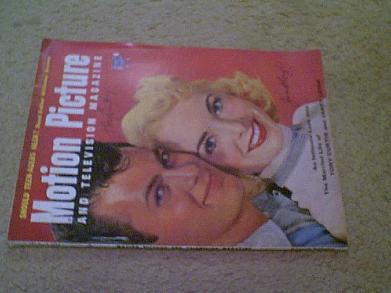 """Curtis, Tony & Janet Leigh """"Motion Picture"""" Magazine 1954 Signed Autograph Color Cover Photo"""