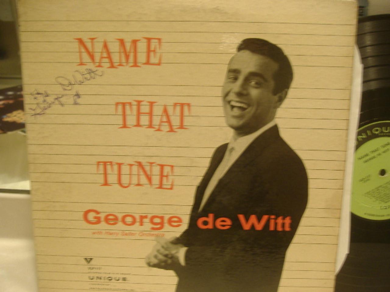 """De Witt, George (Unique - 117) """"Name That Tune"""" 50S Tv Show Signed Autograph LP"""
