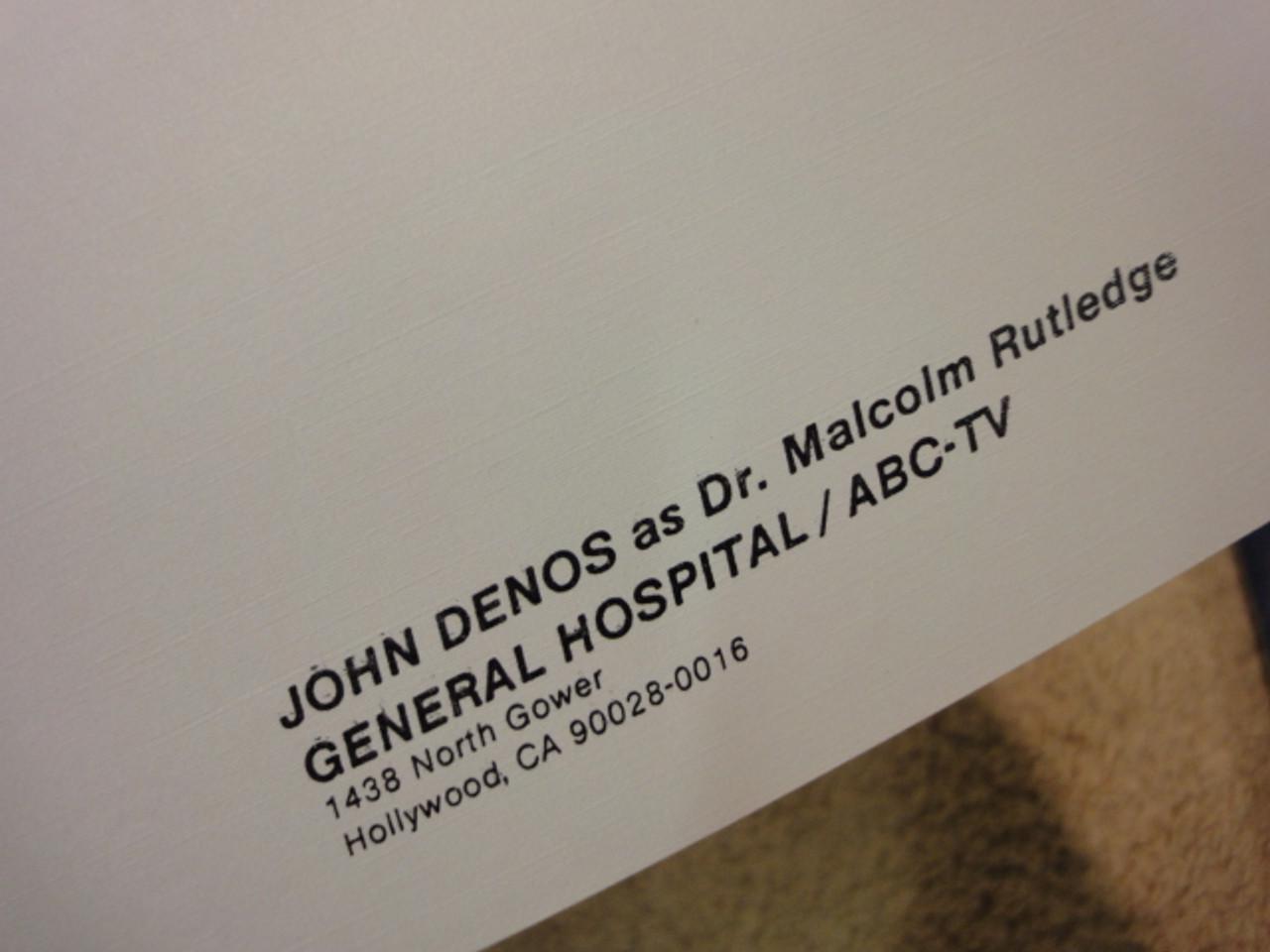 """Denos, John Original Typed Letter 1987 Signed Autograph """"General Hospital"""" Dr. Malcolm Rutledge"""