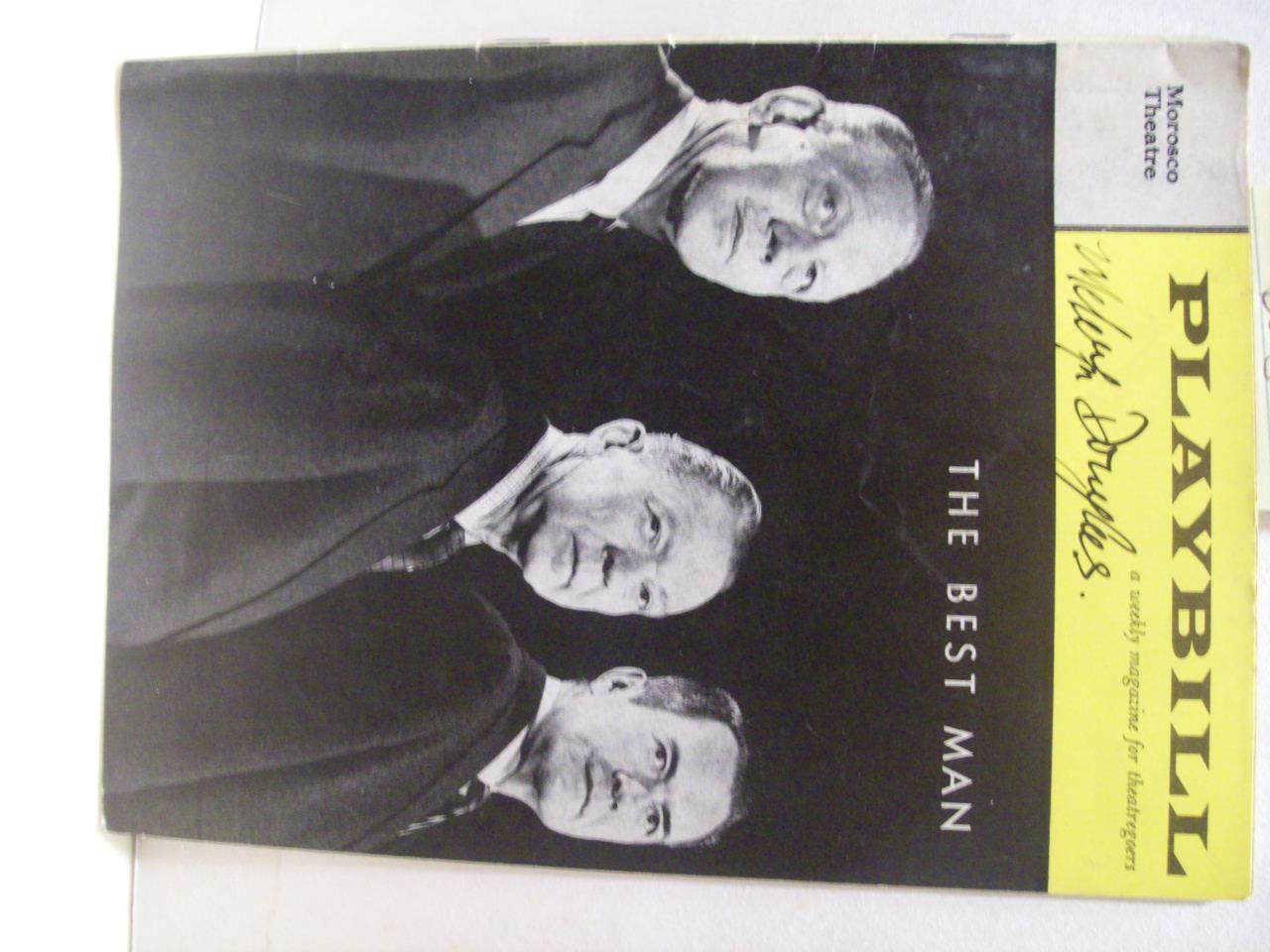 Douglas, Melvyn Playbill Signed Autograph The Best Man 1961