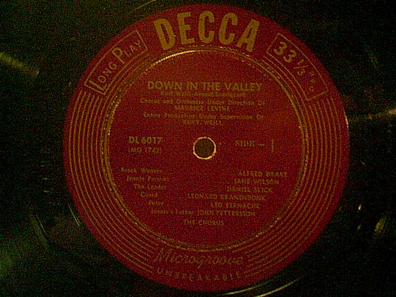"""Drake, Alfred """"Down In The Valley"""" 1950 10"""" LP Signed Autograph"""