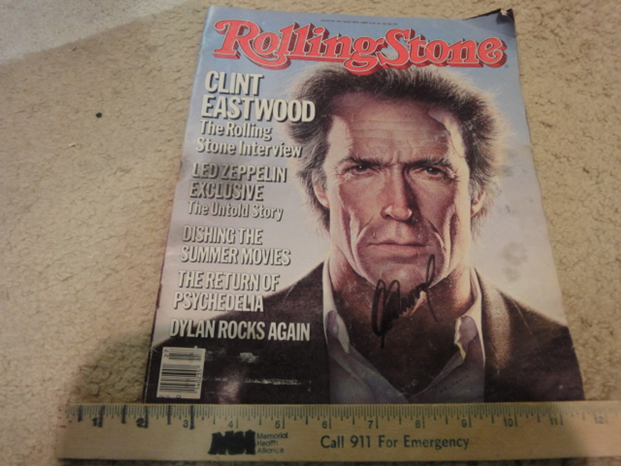 Eastwood, Clint Rolling Stone Magazine 1985 Signed Autograph Color Cover