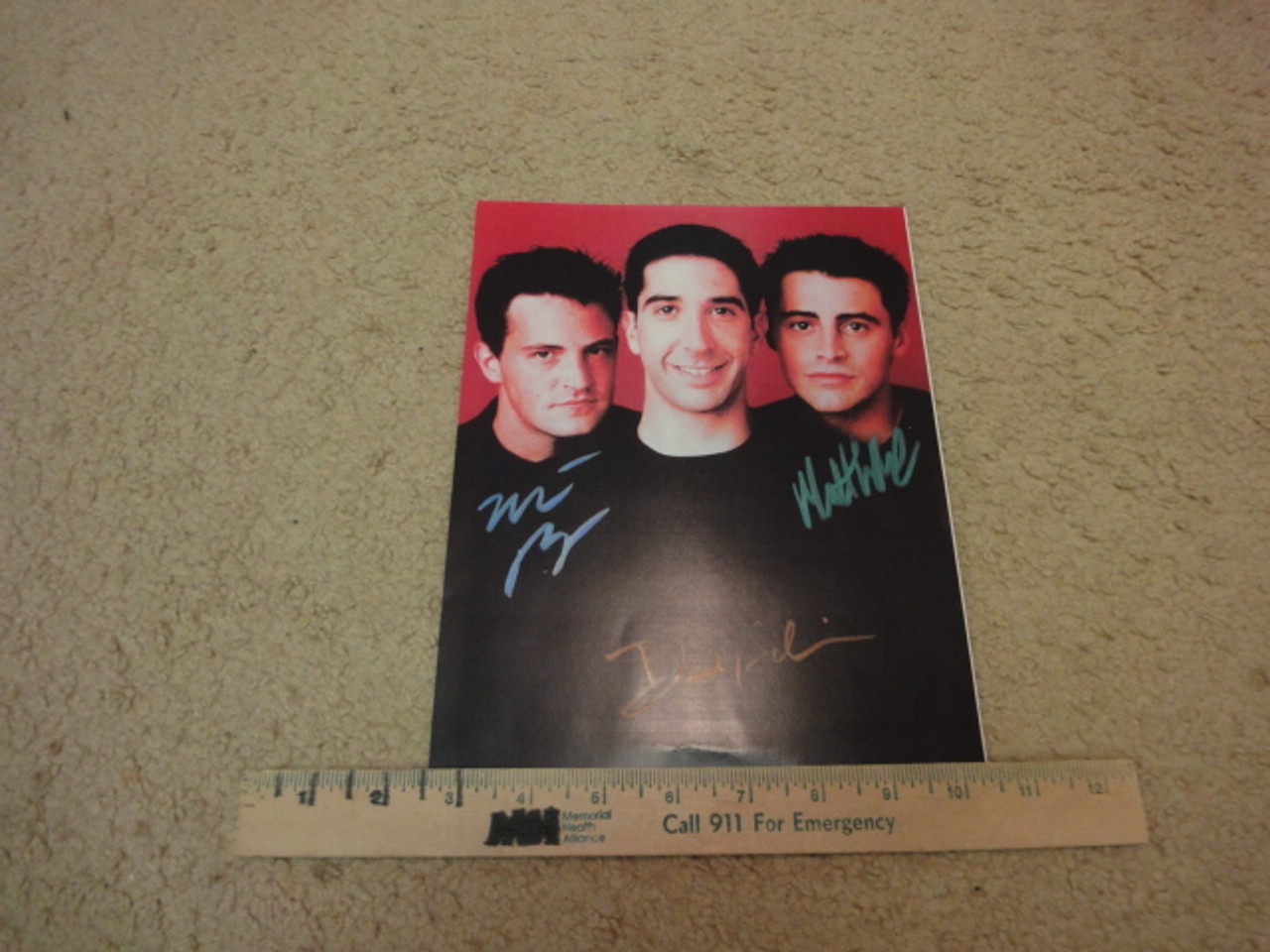 Friends Matt LeBlanc Matthew Perry David Schwimmer Color Photo Signed Autograph