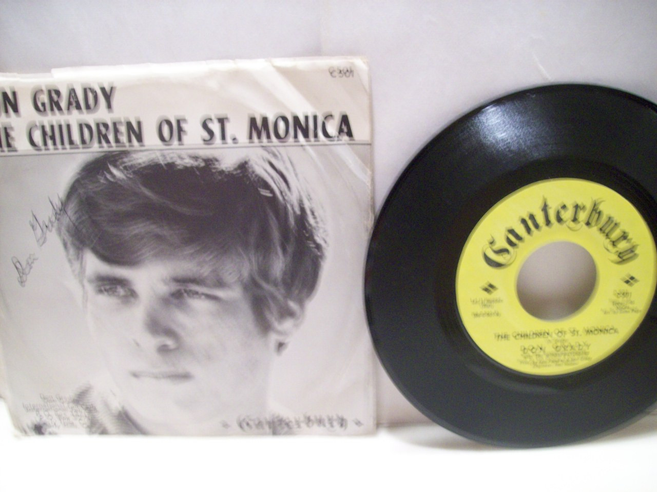Grady, Don 45 RPM Record with Picture Sleeve Signed Autograph The Children of St. Monica My Three Sons