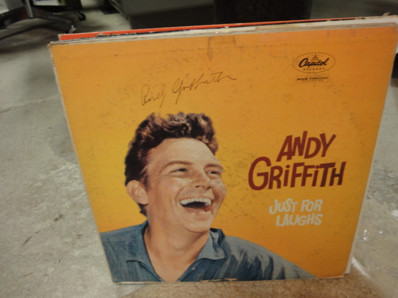 """Griffith, Andy """"Just For Laughs"""" 1958 LP Signed Autograph """"What It Was Was Football"""""""
