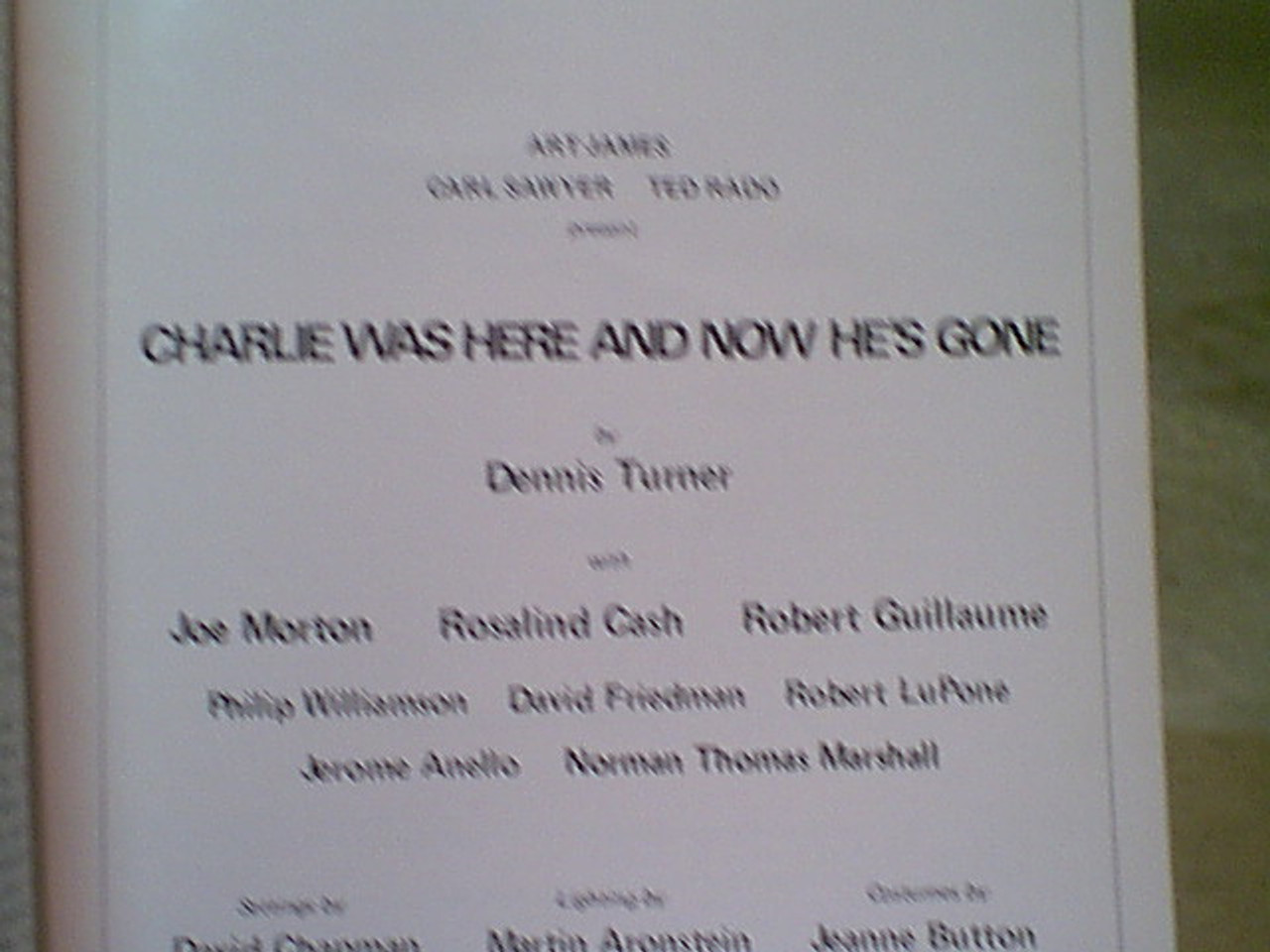 """Guillaume, Robert 1971 Theatre Program """"Charlie Was Here And Now He's Gone"""" Signed Autograph"""