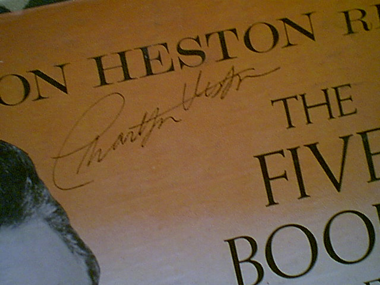 "Heston, Charlton ""The Five Books Of Moses"" 1950'S LP Signed Autograph Photo Box Set"