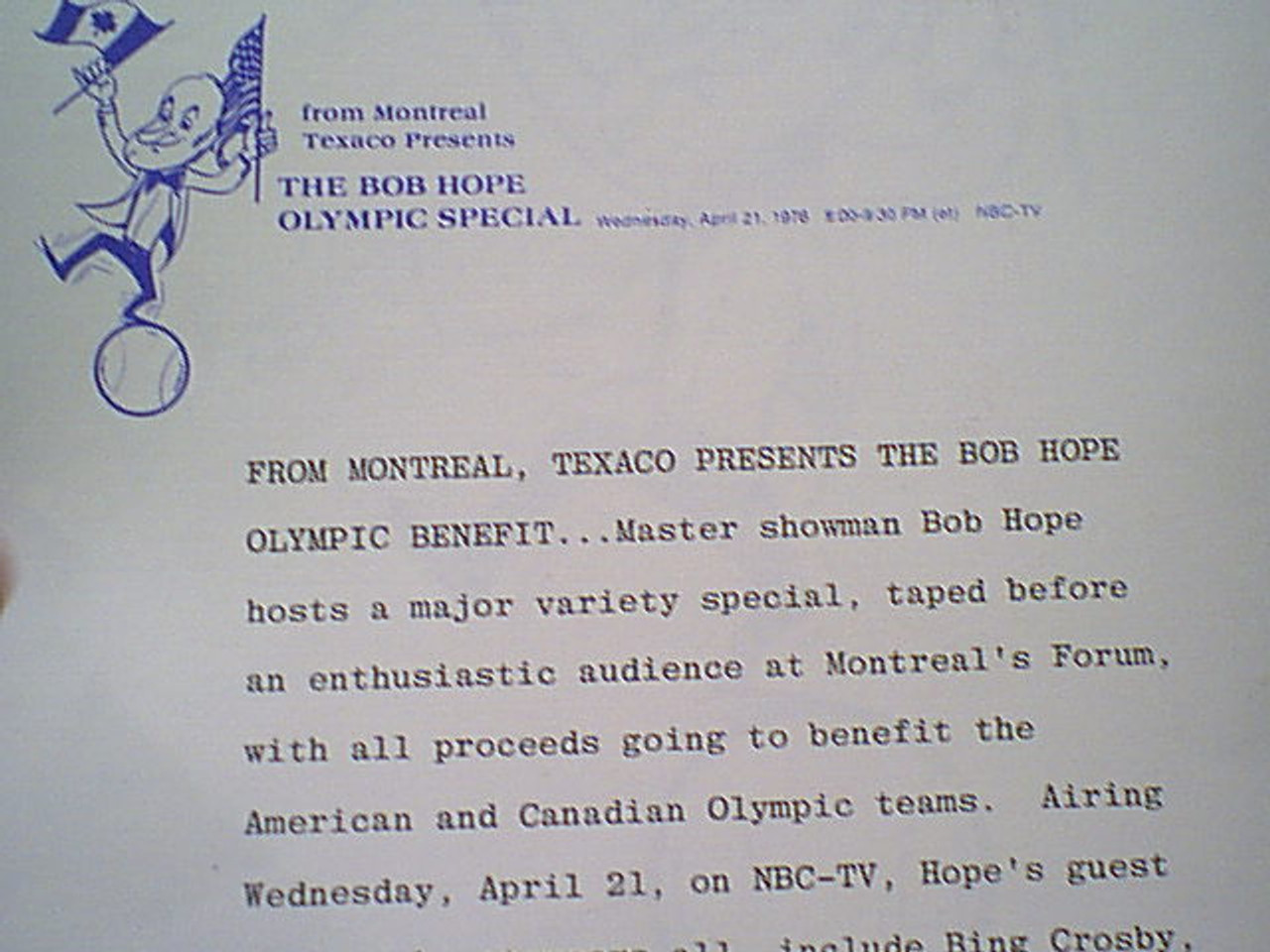 Hope, Bob 1976 Photo Signed Autograph Montreal Olympic Benefit