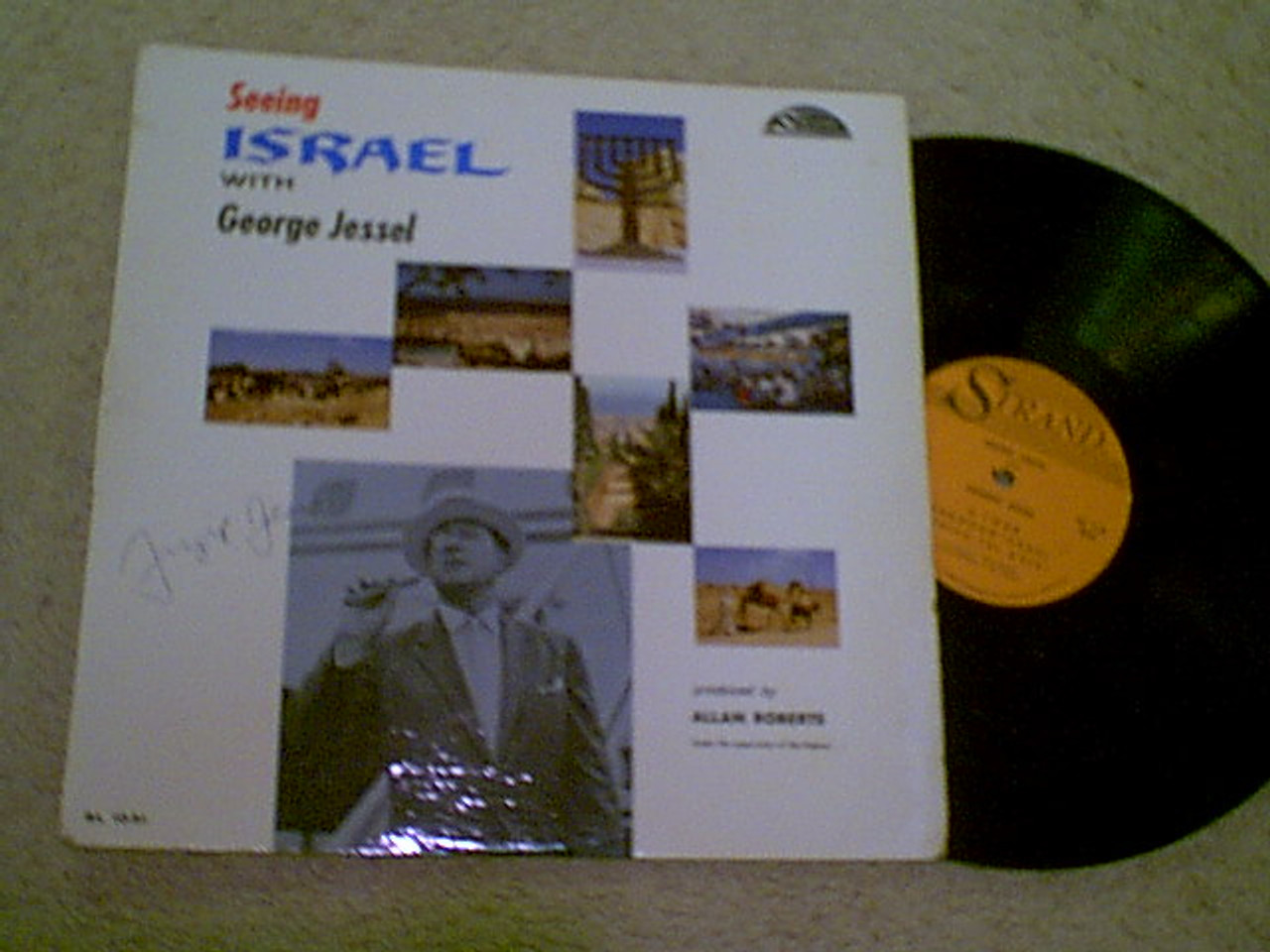 """Jessel, George """"Seeing Israel"""" LP Signed Autograph Color Photos"""