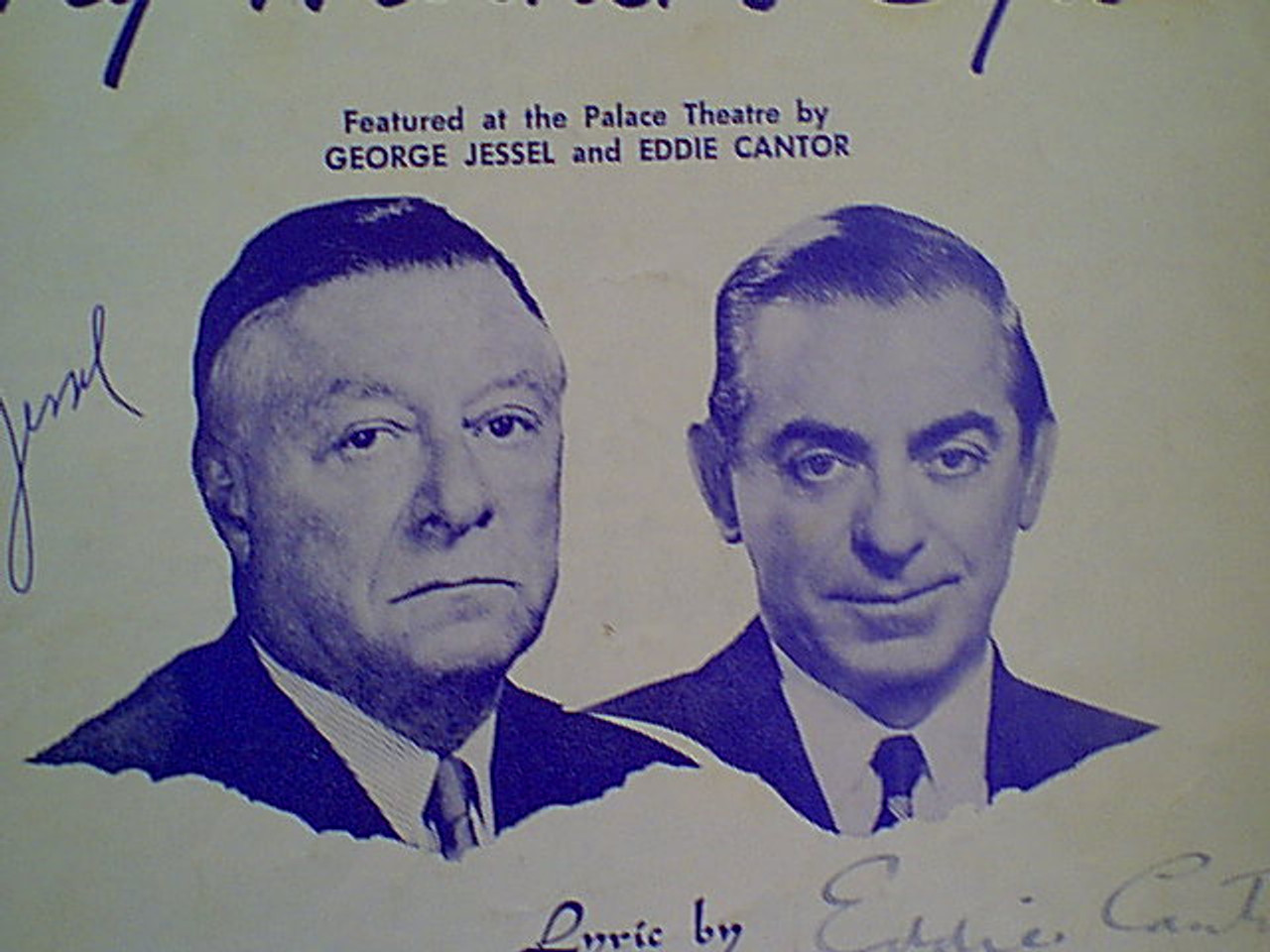 """Jessel, George Eddie Cantor """"My Mother'S Eyes"""" 1956 Sheet Music Signed Autograph Photos"""