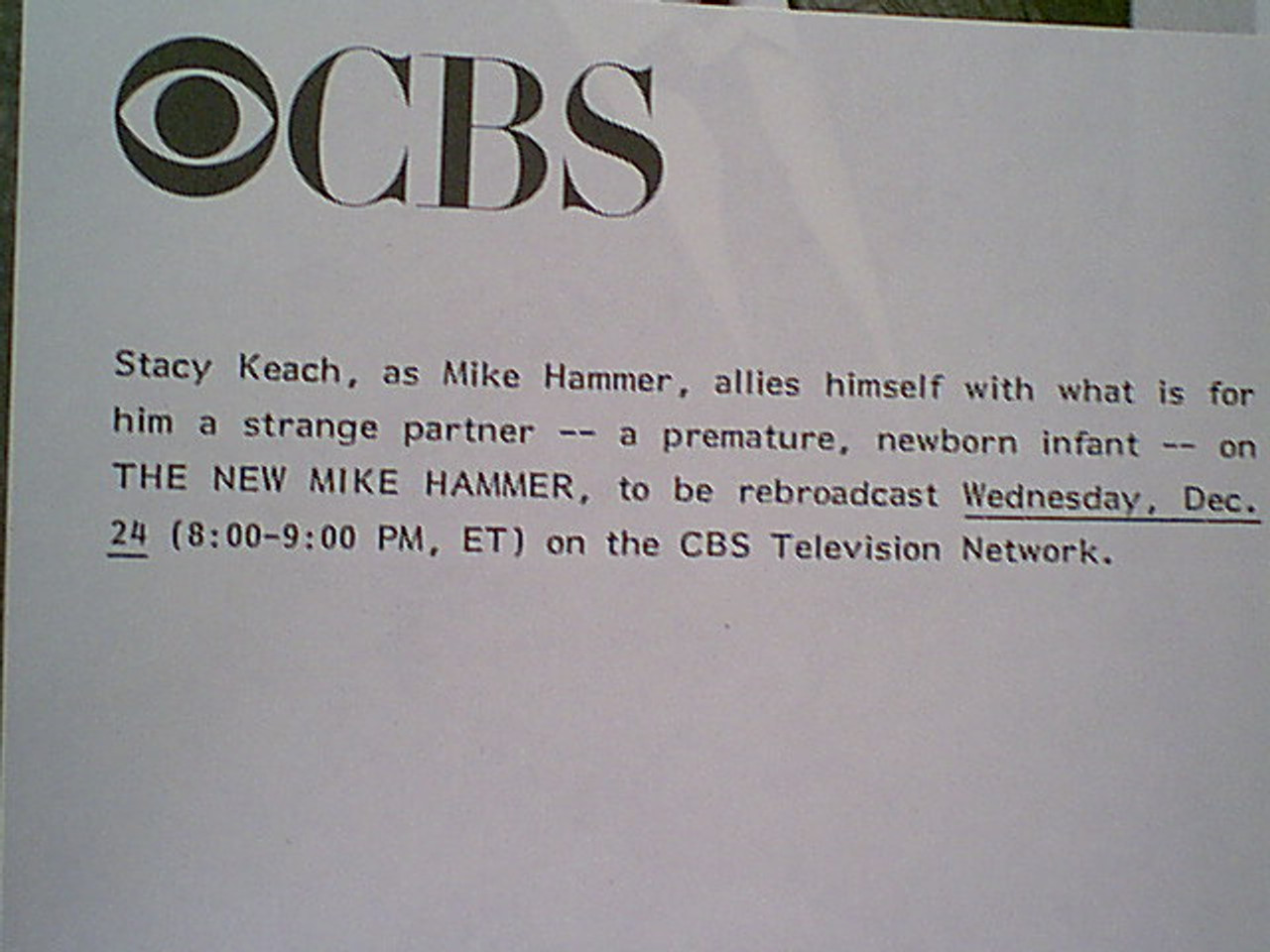 """Keach, Stacy 1986 Photo """"The New Mike Hammer"""" Signed Autograph With Byline"""