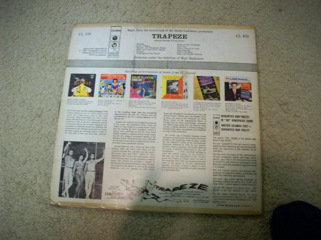 "Lancaster, Burt Tony Curtis Gina Lollobrigida ""Trapeze"" LP 1956 Signed Autograph Color Cover"