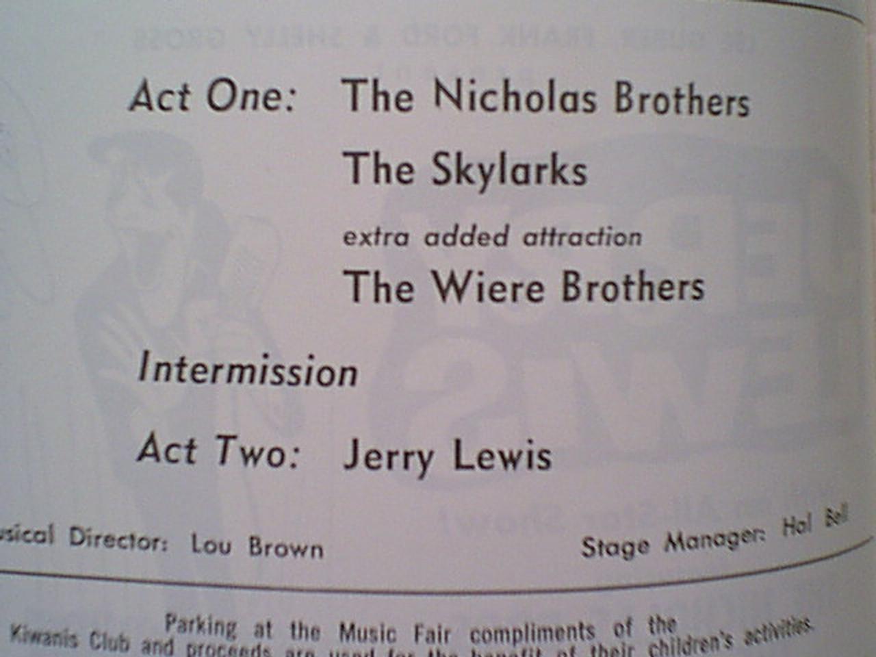 """Lewis, Jerry """"Westbury Music Fair"""" Program 1966 Signed Autograph"""