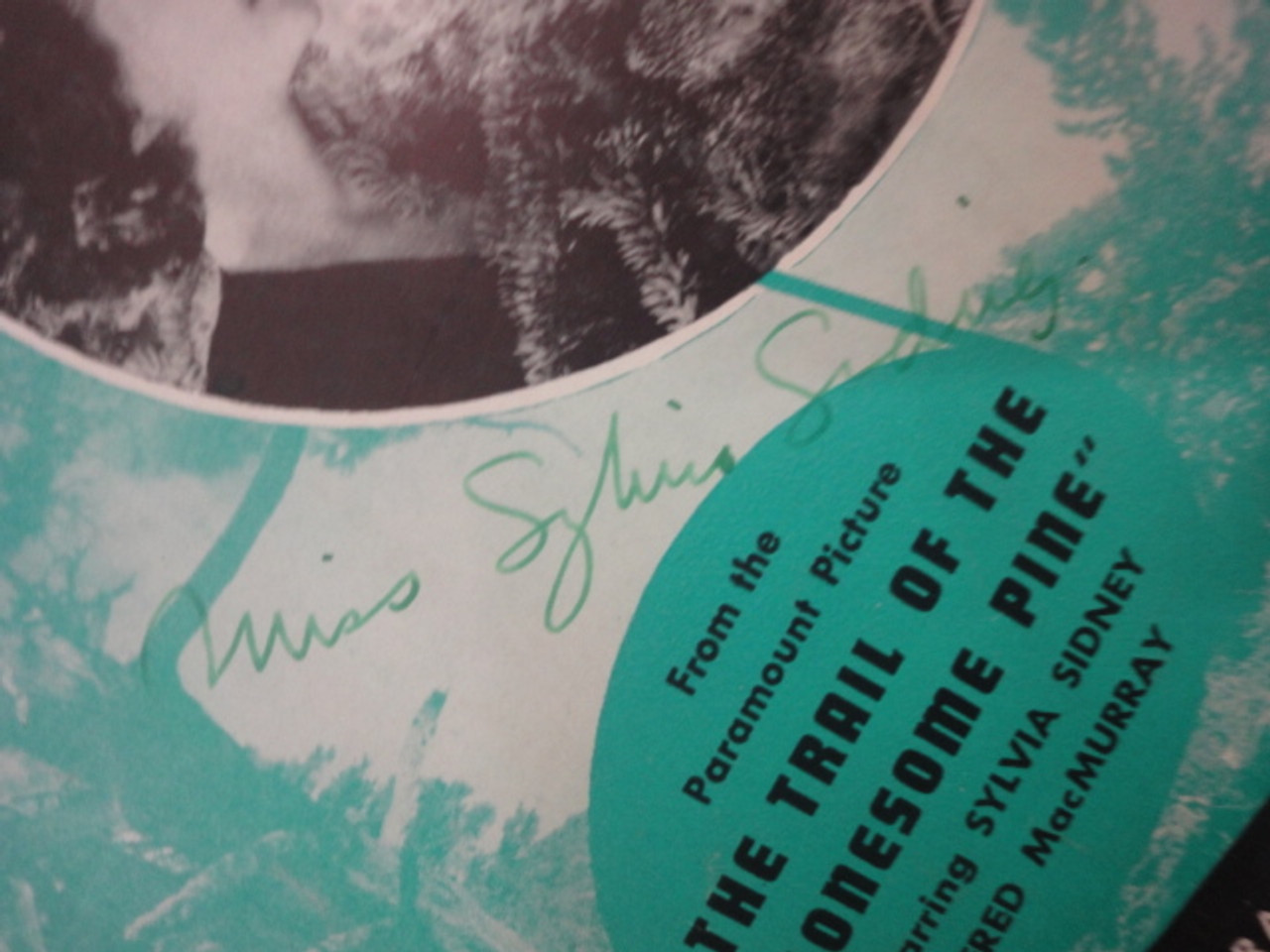 """MacMurray, Fred and Sylvia Sidney """"A Melody From The Sky"""" 1936 Sheet Music Signed Autograph """"The Trail Of The Lonesome Pine"""""""