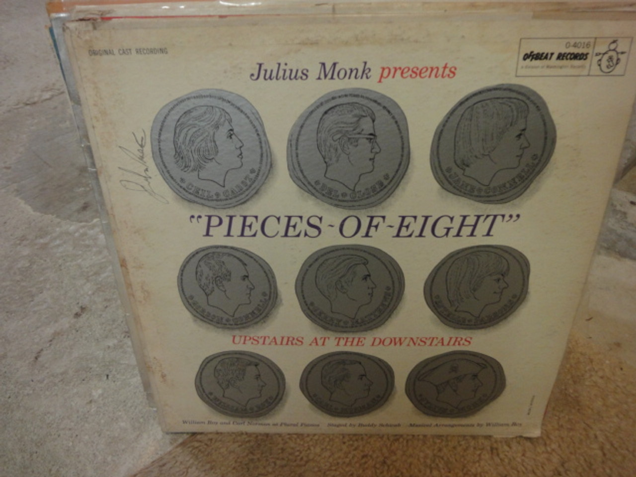 """Monk, Julius """"Pieces Of Eight Upstairs At The Downstairs"""" 1969 LP Signed Autograph Off-Beat"""
