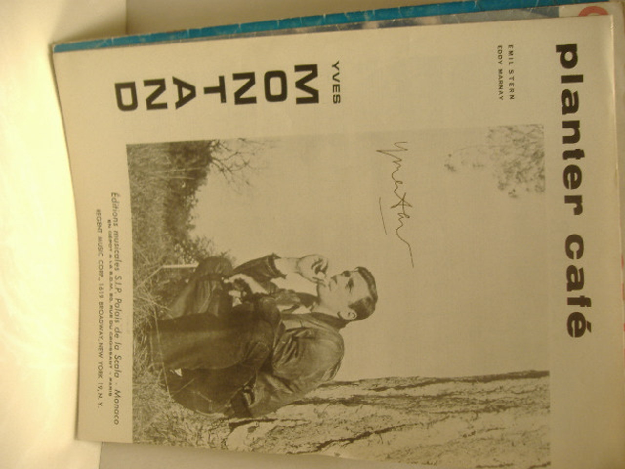 Montand, Yves Sheet Music Signed Autograph Planter Cafe 1958