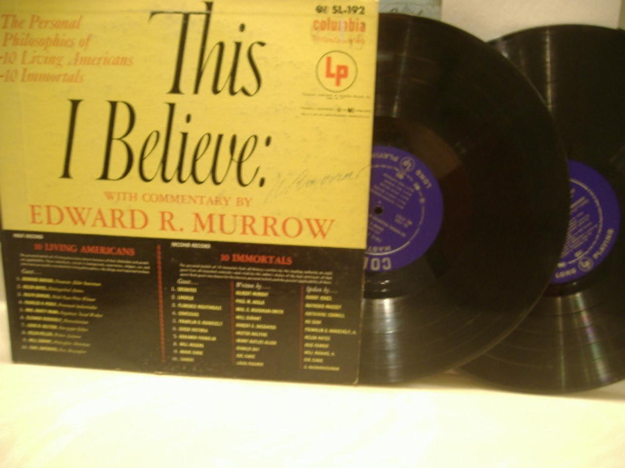 Murrow, Edward R. LP Signed Autograph This I Believe Double LP