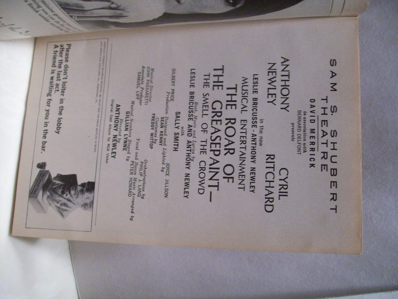 Newley, Anthony Cyril Ritchard Playbill Signed Autograph The Roar Of The Greasepaint - The Smell Of The Crowd 1965