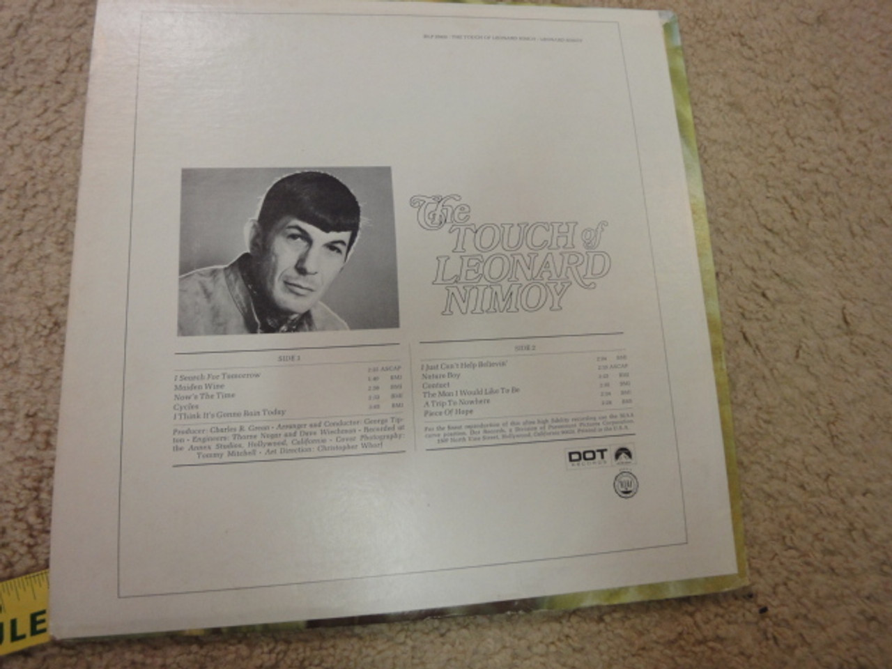 """Nimoy, Leonard """"The Touch Of"""" 1969 LP Signed Autograph Star Trek"""