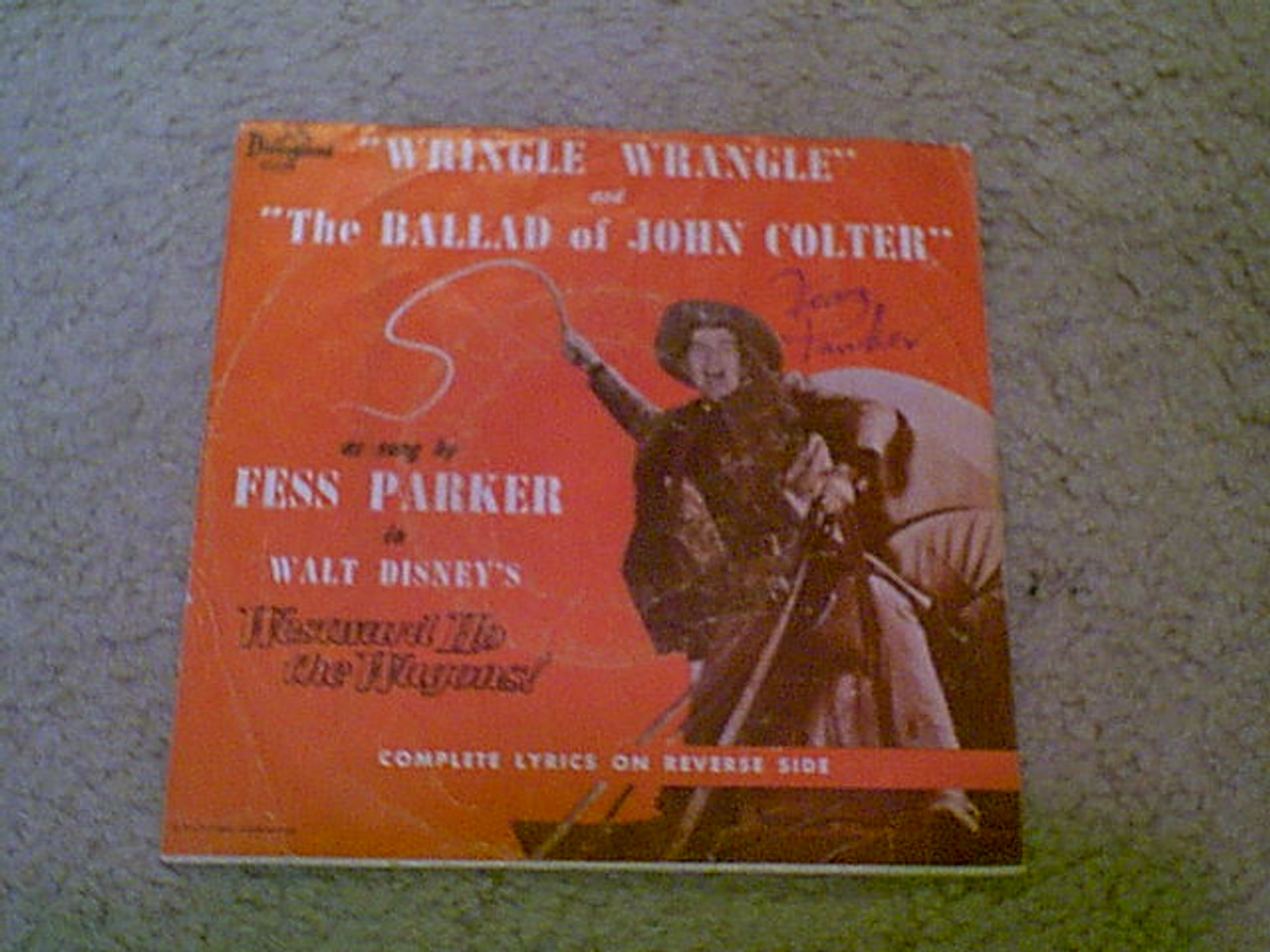 """Parker, Fess """"Westward Ho The Wagons"""" 1956 45 Rpm Record With Picture Sleeve """"Wringle Wrangle"""" """"The Ballad Of John Colter"""" Disney"""