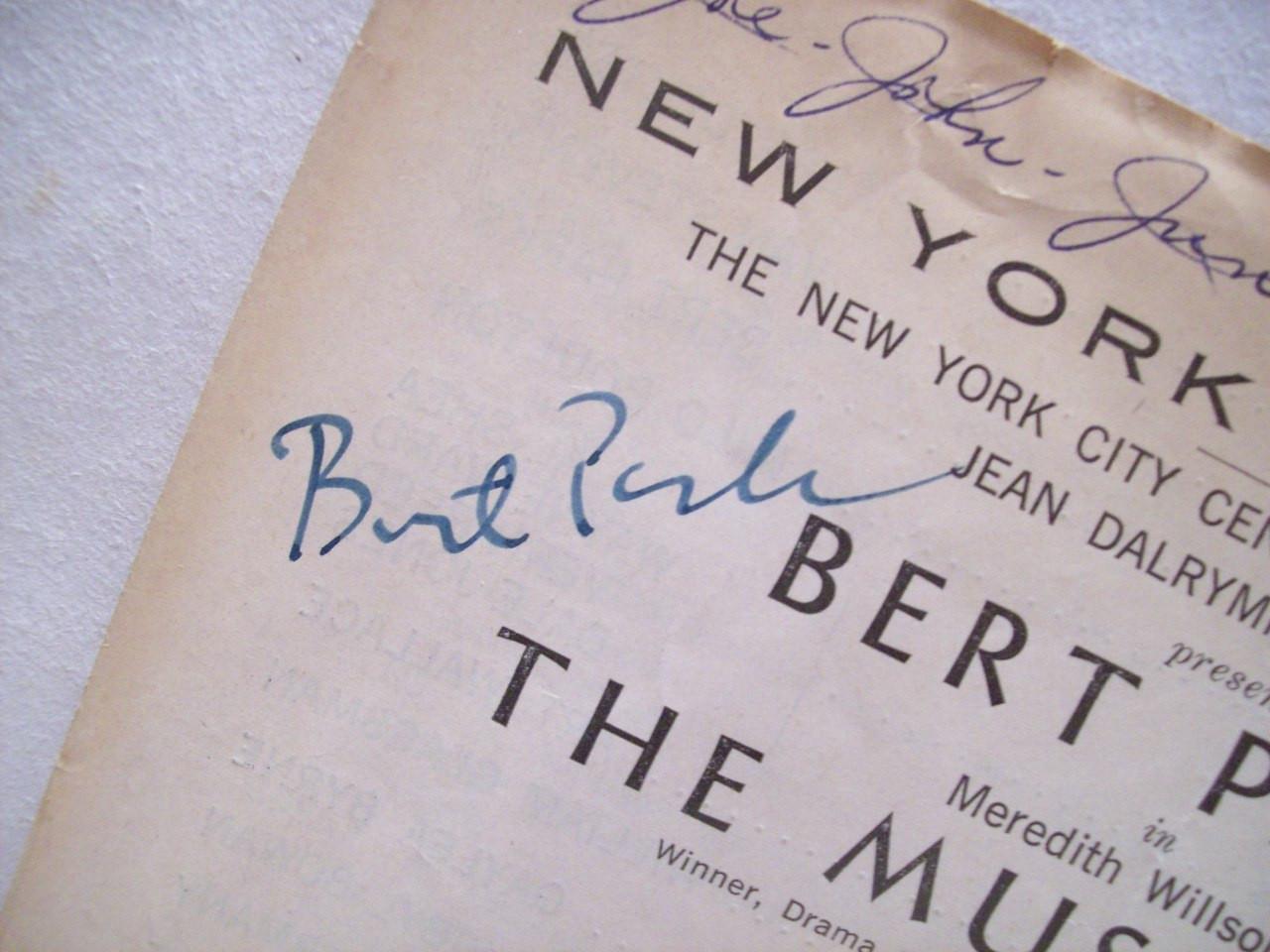 Parks, Bert Theatre Program Signed Autograph The Music Man 1965