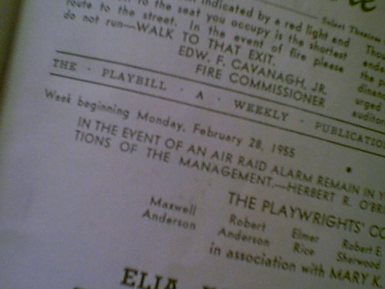 "Perkins, Anthony Tony ""Tea And Sympathy"" 1955 Playbill Signed Autograph"