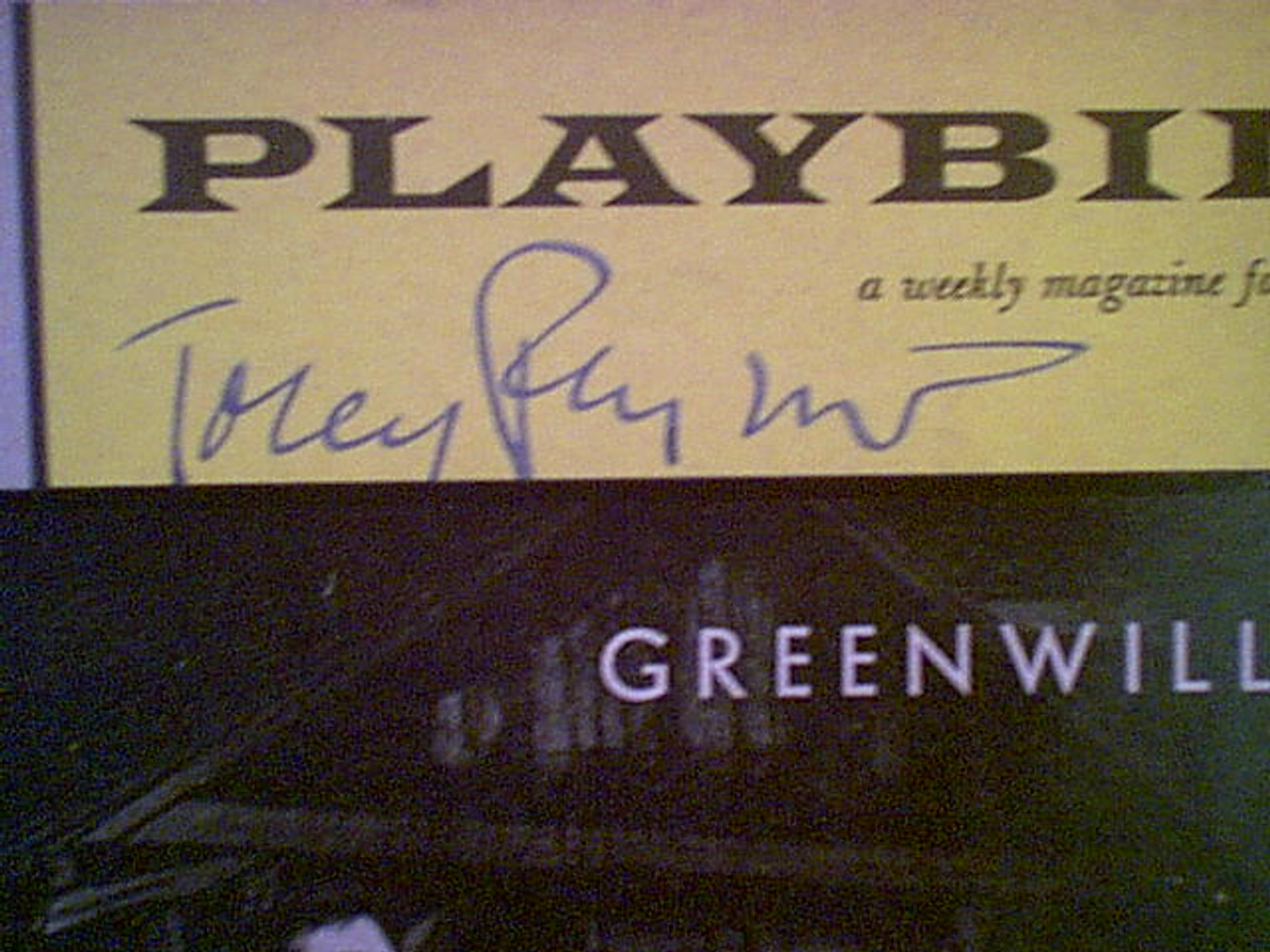 """Perkins, Tony Anthony """"Greenwillow"""" 1960 Playbill Signed Autograph Cover Photo"""