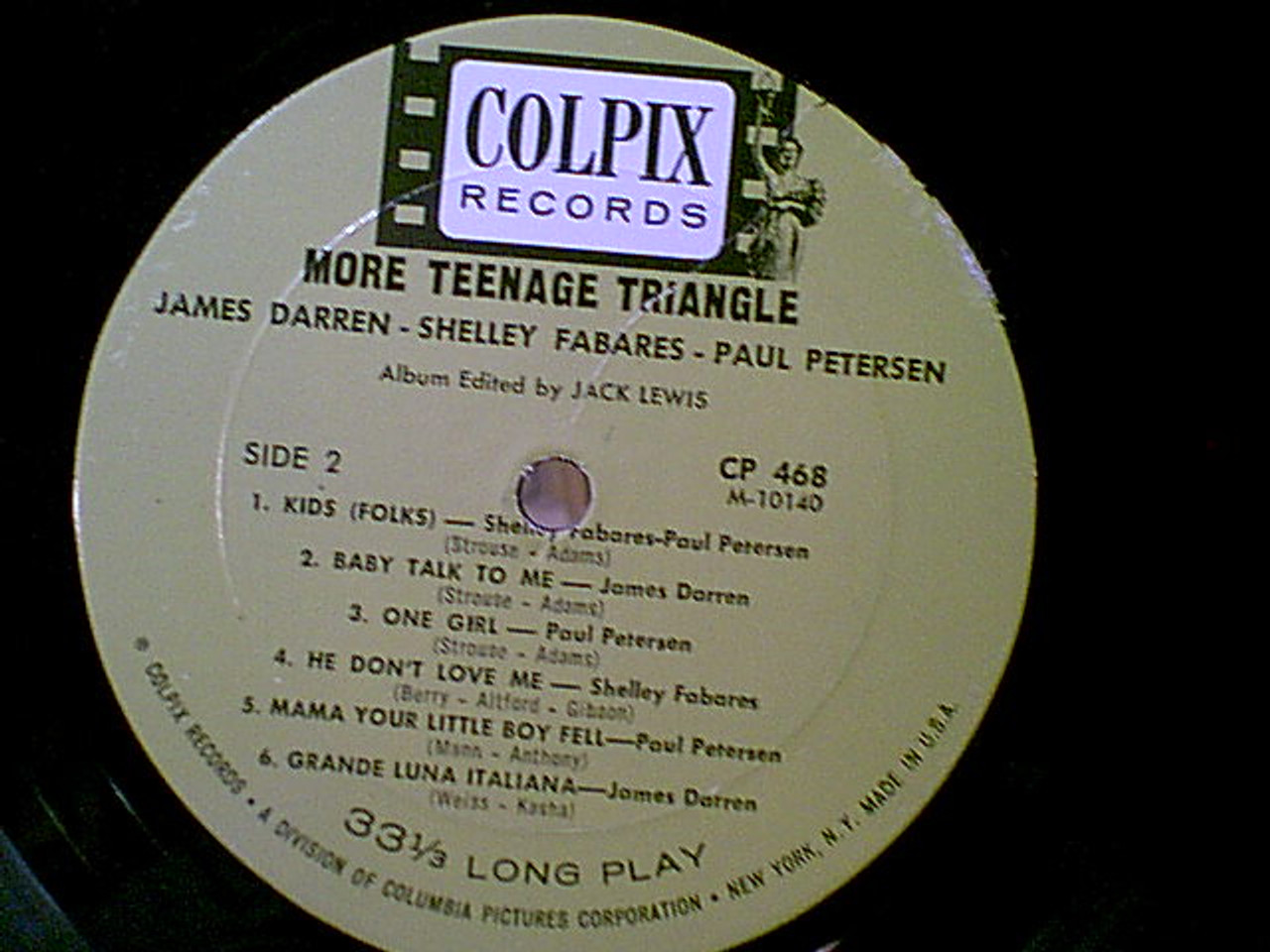 "Petersen, Paul Shelley Fabares James Darren ""More Teenage Triangle"" 1964 LP Signed Autograph Photos"