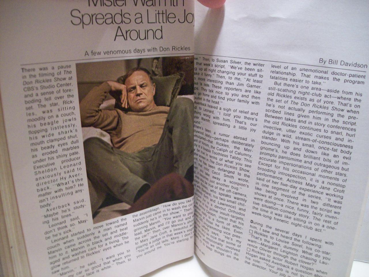 Rickles, Don TV Guide Signed Autograph April 22 1972