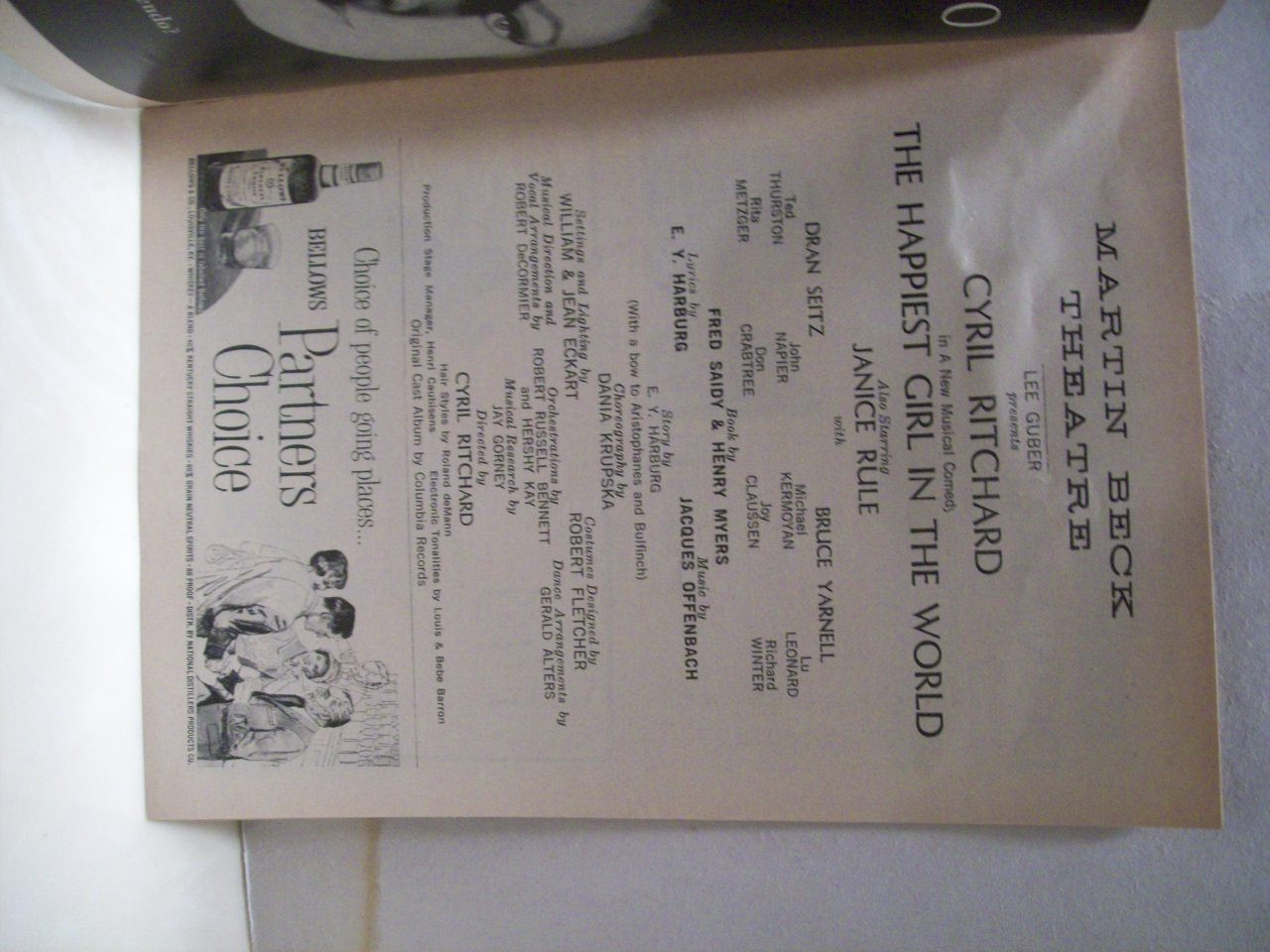 Ritchard, Cyril Playbill Signed Autograph The Happiest Girl In The World 1961