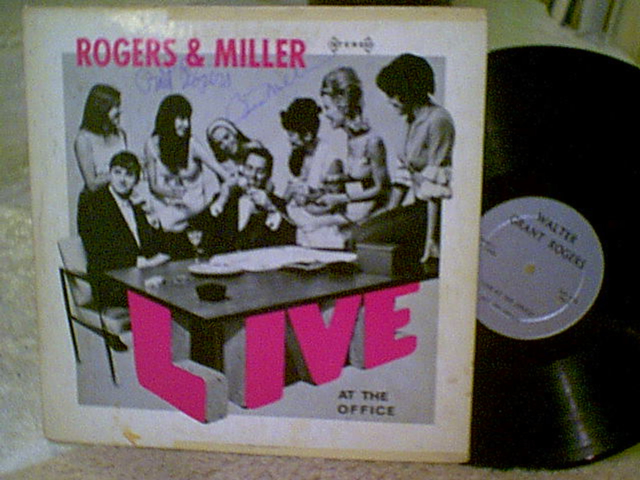 Rogers And Miller LP Signed By 2 Autograph Live At The Office