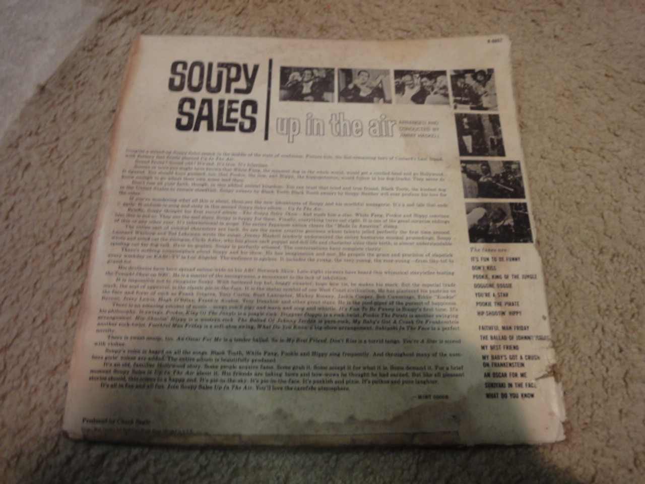 """Sales, Soupy """"Up In The Air"""" 1965 LP Signed Autograph """"My Baby's Got A Crush On Frankenstein"""""""
